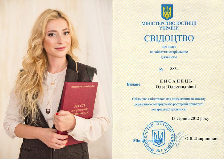 Свидетельство нотариуса Писанец Ольга Александровна